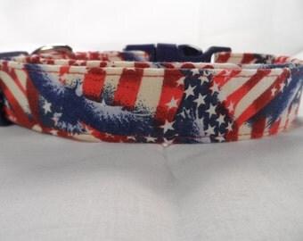 Patriotic Stars Stripes and Eagles Dog Collar
