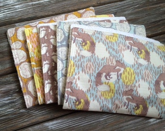 Chenille Burp Cloths ~ YOU Choose 1 or all 5! ~ Timber & Leaf ~ Gold/Wood/Trees/Nature/Fox/Natural