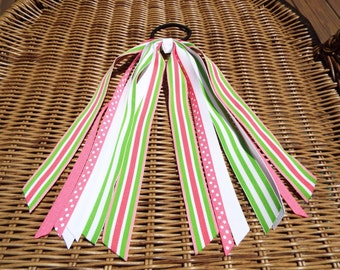Preppy Pink and Green Striped Ponytail Streamer