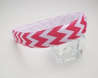 Pink and White Chevron Hairband