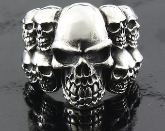 skulls bunch heap friend Gothic graveyard Ring silver