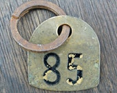 Vintage Metal Cattle Tag-Cow Tag-Rustic Industrial Number 85