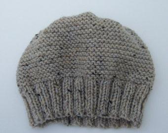 Hand Knitted Beanie Hat in Oatmeal Tweed Aran