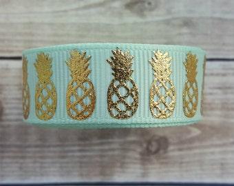 5/8 inch MINT PINEAPPLE grosgrain ribbon