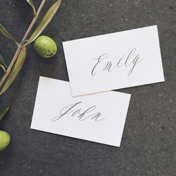 Wedding Place Card Escort Cards Calligraphy Place Card