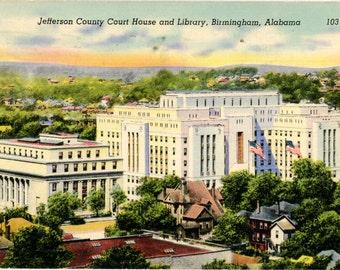 Vintage Alabama Postcard Jefferson County Court House & Library Birmingham AL 1945
