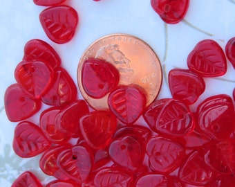 Candy Red Czech Glass Leaves, 24 Beads- Item 670