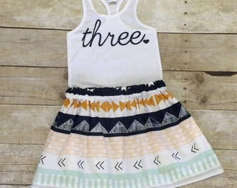 Fun Tribal Print Girls Birthday Outfit, 3rd Birthday Shirt, Girls Birthday Shirt and Skirt, ANY AGE