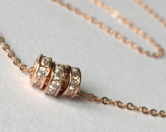 Rose Gold Filled Tiny Round Three Bead CZ Necklace, Everyday Necklace, Layering Necklace, Dainty,Minimalist, Simple Gold Necklace