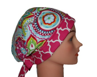 Scrub Hat Surgical Scrub Cap Chef Nurse Dr Chemo Hat Flirty Front Fold Pixie Pink Yellow Aqua Quatrefoil 2nd Item Ships FREE