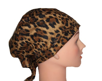Scrub Hat Surgical Scrub Cap Chef Vet Nurse Dr Chemo Hat Flirty Front Fold Pixie Animal Print Brown Gold Black 2nd Item Ships FREE