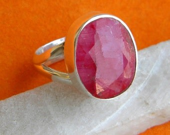 Ruby Ring, Ruby Silver Ring, Cocktail Ring, Size 3 4 5 6 7 8 9 10 11 12, Handmade Ring, Silver Ring, Ruby Silver Ring, 925 Sterling Silver