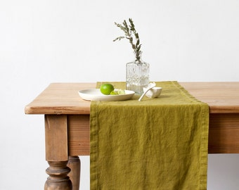 Moss Green Stone Washed Linen Table Runner