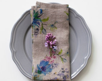 Set of 2 Natural Flowers Stone Washed Linen Napkin