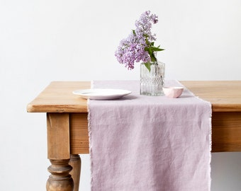 Pink Lavender Stone Washed Linen Table Runner with Fringes
