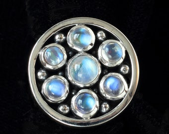 Sterling Silver Multi Moonstone Ring: GUINEVERE
