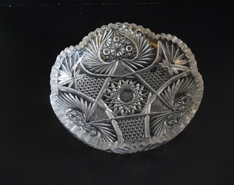Vintage, American Brilliant Glass Candy Dish
