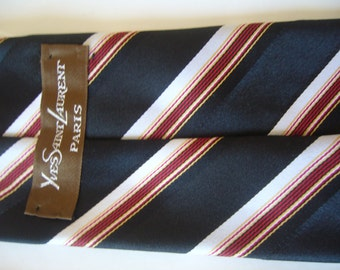 YSL necktie black,red and white striped/mens tie striped/necktie bold/wide necktie striped