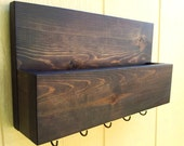 Mail and Key Rack / Mail Organizer / Mail and Key Holder / Key Hooks / Stained Espresso / The Carrie