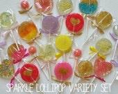 10 Sparkle Lollipop Variety Set, Sample Designs and Flavors, Sample Set, Sparkle Lollipops, Sweet Caroline Confections, Wedding Favors