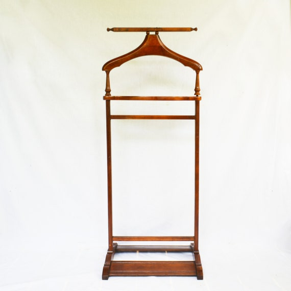 clothes butler vintage valet stand suit stand wooden