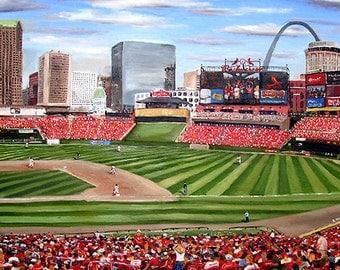 """St. Louis Cardinals, Busch Stadium - 8""""x10"""" Artist's Print"""