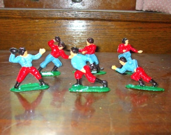 6 Vtg. Cake Topper Football Players - Cupcake - Plastic Colorful