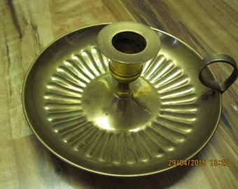 Vintage brass finger handle candle stick holder