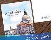 Italy Greeting Card, With Love Travel Greeting Card, With Love from Venice, Italy 5x7 card blank inside with white envelope.