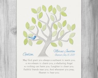 Godson BAPTISM GIFT Godson Christening Gift Personalized Print Godson Gift Dedication Gift Keepsake Godson Quote Customized Tree Bird