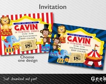 Circus / Carnival Style party Invitation - Printable - Lion - Monkey - Elephant