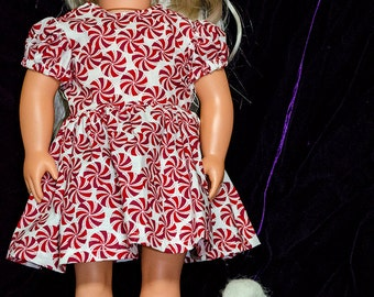 18 Inch Doll Clothes - Peppermint Swirl Dress