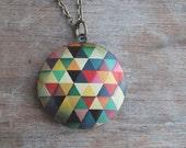 "Geometric print locket necklace / keepsake / long necklace 28"""" /bold colors / modern / triangles"
