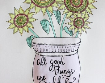Sunflowers in Vase drawing   Mandala Flowers   Original Drawing   Pen & Gouache Paint