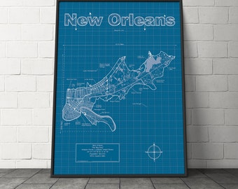 New Orleans Map / Original Artwork / New Orleans Blueprint / Wall Art / Gift for Him / Street Map / Louisiana Map / Graduation Gift
