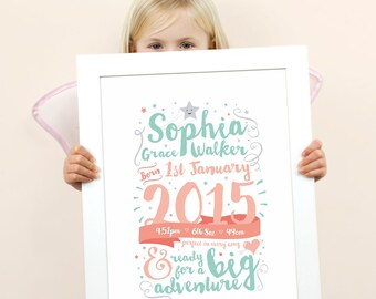 Celebration Birth Announcement, Birth Print, Nursery Art, Nursery Decor