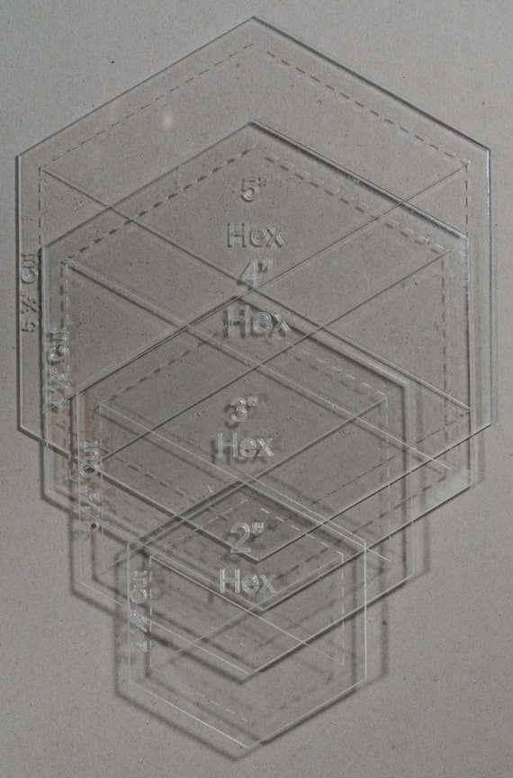Clear Acrylic Laser Cut Quilting Templates - Hexagon 2,3,4,5 inch ...