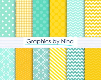 50% SALE INSTANT DOWNLOAD Aqua green and Yellow Digital paper pack  for Personal and Commercial use Scrapbooking