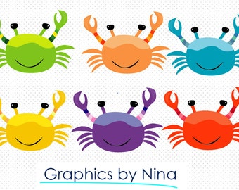 INSTANT DOWLOAD   Colorful Crabs Clipart  Scrapbook for Personal and Commercial Use