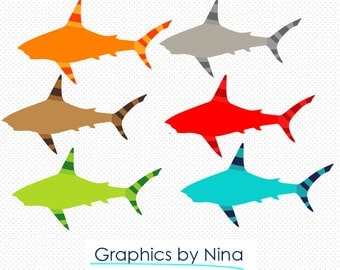 INSTANT DOWNLOAD  Colorful Shark Clipart  Scrapbook for Personal and Commercial Use