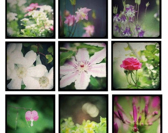 Photo Print - Nine 4x4 TTV Vintage Flower Prints, Small Floral Photos, Floral Photo Flashcards