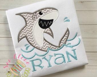 Shark Bite T-Shirt - Personalized Boys Applique Shark Shirt - Shark Embroidered Shirt- Beach Bacation Shirt