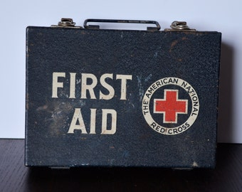 The American National Red Cross First Aid Kit / 1930s-1940s / Intact with 14 boxes of supplies! / Amazing graphics on boxes.