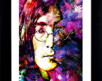 John Lennon art prints wall decor - framed limited edition art by Mark Lewis Art - jls2