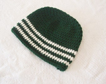 CLEARANCE! RTS Toddler Striped Beanie Hat - Hunter Green, Cream