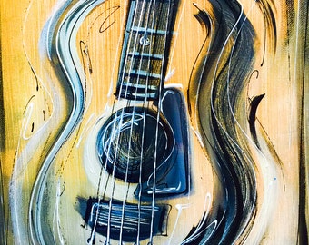 NEW! Simple Abstract Guitar Art, hand painted by Sheila A. Smith