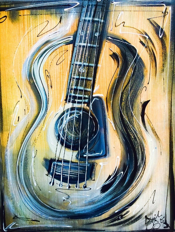 new simple abstract guitar art hand painted by sheila a. Black Bedroom Furniture Sets. Home Design Ideas