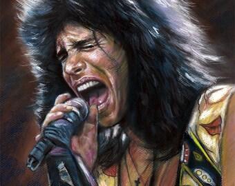 "Steven Tyler, Aerosmith poster, print, reproduction, artwork, painting by eugene chung, 16""x20"",22.4""x28"""