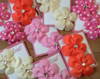 PAIR... of grosgrain flower hair clips.. choose your color