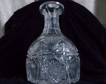 Antique American Brilliant Cut Glass Water Bottle / Wine Carafe / Wine Decanter / Liquor Decanter / Barware / Serveware / Shabby Chic